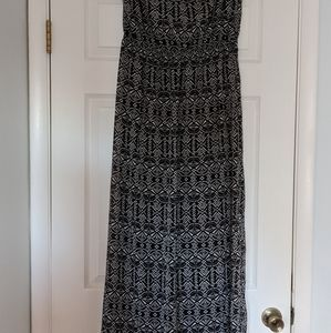 Black & White Long Tube Top Dress